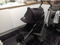 Black buggy, pushchair - umbrella fold with hood, integral sunshade and rain-cover