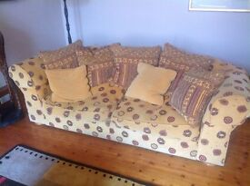 Collins & Hayes chunky double patterned sofa with scatter cushions