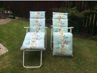Matching pair of garden loungers