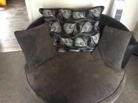 Corner suite & Snuggle seat Fabric & Leather grey & Black
