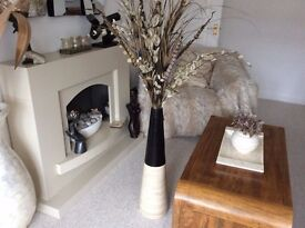 LARGE LIGHT WOOD FLOOR VASE WITH STUNNING DISPLAY : FROM PIER