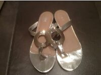 Next Silver Flip Flop Size 3