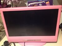 Free, pink small portable tv and. D v d ,,,