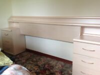 Headboard with 2x3drawer bedside cabinets