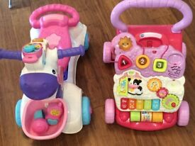 V tech baby walker and 3 in 1 Scooter and Ridealong