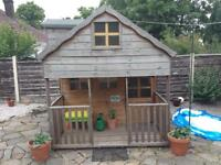 CHILDS WOODEN PLAYHOUSE WITH 2 FLOORS ( UPSTAIRS VIA STAIRS INSIDE )
