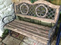 Garden bench, metal with wood slats