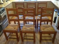 Oak ladder Back French heavy dining room chairs - set of 6