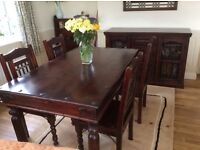 Dining Table, Chairs, Sideboard and mirror in Quality hardwood