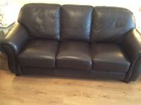 Brown leather suite 3 seater and 2 chairs