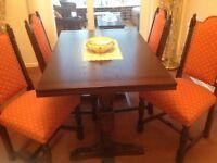 Warm Tudor Oak Finish Draw Leaf Dining Table & 4 Jacobean Chairs