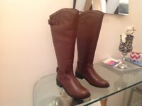 Ladies Brown Leather Riding Boots