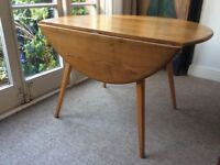 Retro dining table, oval, drop leaf