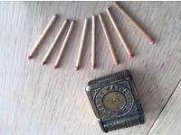 Original Silver metal plate box of matches.