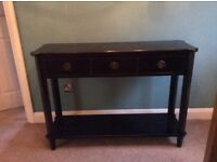 """""""Laura Ashley, Henley"""" Black 3 drawer console table for sale."""