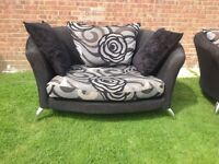 Black and grey love chair and single chair
