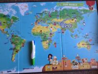 Leap reader with world map, story books and learn to write books