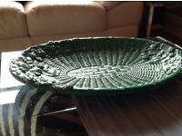 Beautiful green glazed Italian pottery serving platters suitable for buffet presentation