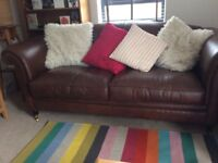 Leather Laura Ashley Sofa and M&S Leather Chair