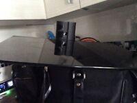 Black glass shelf for under tv set