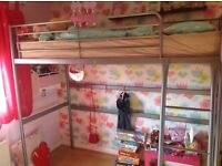 Single loft bed frame and mattress from IKEA