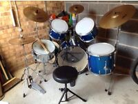 Drum Kit - Complete with Zildjian ZBT Cymbals, Iron Cobra Pedal, Stool, Sticks & Practise Pads,