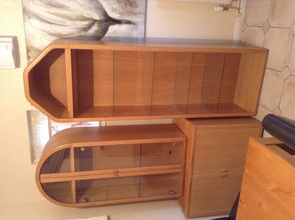 holtkamp wohnideen solid oak wood display units with lights and