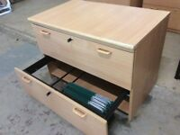Beech Two Drawer Suspension File Cabinet with keys