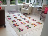 Mexican floor rug or wall hanging, hand made in 1960's with natural dyes.