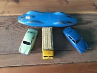 4 REALLY NICE COLLECTABLE VINTAGE DIE CAST CARS LESNEY MATCHBOX & CORGI BLUEBIRD JAGUAR WOLSLEY ETC