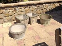 Four Concrete Planters, 2 X square, 2 X circular. Buy all four or a pair.