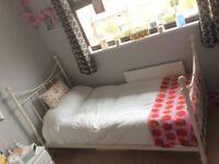Cream Metal Single Bed Frame