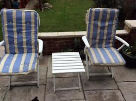 Patio Reclining Sun Loungers and Drink Table