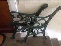 Pair cast iron bench ends