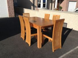 Rubber wood dining table and six chairs