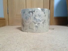 New, still in wrapper, muted grey and blue patterned fabric light shade