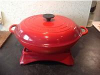 Le Creuset 30cm pan and stand/warmer