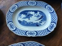 Large Antique Blue and White Oval meat dish/Platter
