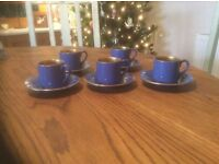 HJ Wood Burslem Coffee cups. Royal blue ceramic with gold interior. Excellent condition.