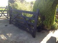 Old oak field gate painted black 9ft 3inchx54inch high very heavy,