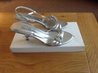 Beautiful Silver Jane Shilton Sandals with Diamanti detail. Mafching clutch bag. Worn once only.