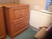 2 drawer filing cabinet. Medium oak