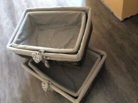 4 x shabby chic Grey wicker storage baskets