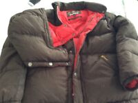 Youths Barbour brown zipped jacket with detachable hood 100% feather down age 11/12 ex.con.£25