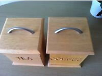 matching tea and coffee wooden beech containers