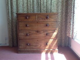 Antique chest of drawers,original features, oak,