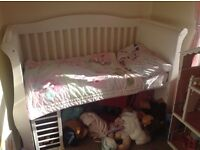 Child's sleigh bed with memory foam mattress