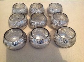 Silver glass candle holders