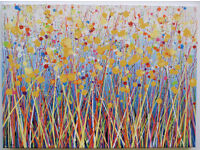 LARGE MODERN ART NEW ABSTRACT YELLOW DANDELION FLOWER LANDSCAPE PAINTING ON CANVAS | Free Delivery