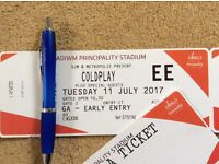COLDPLAY VIP PRIORITY ENTRY STANDING CATDIFF 11th JULY 2017 2 x TICKETS